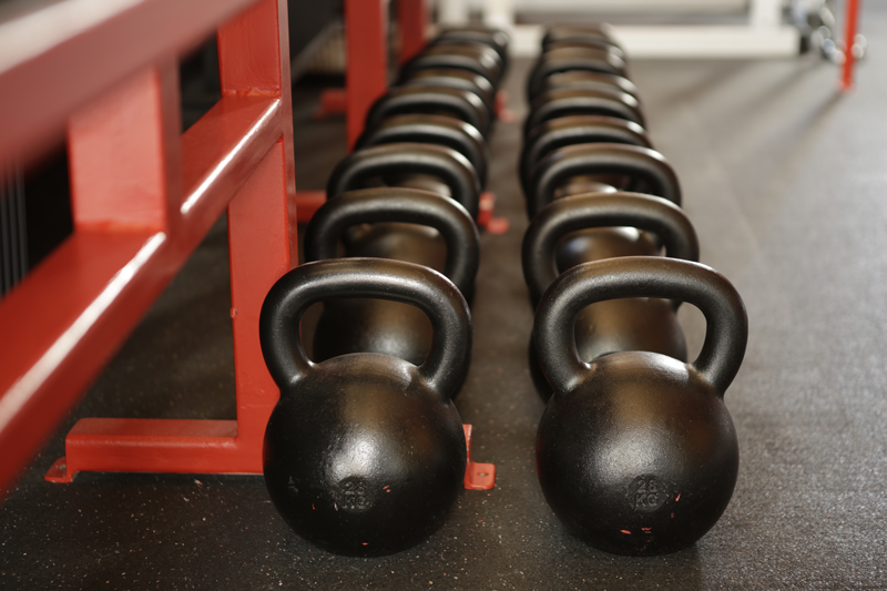 Collection of kettlebells