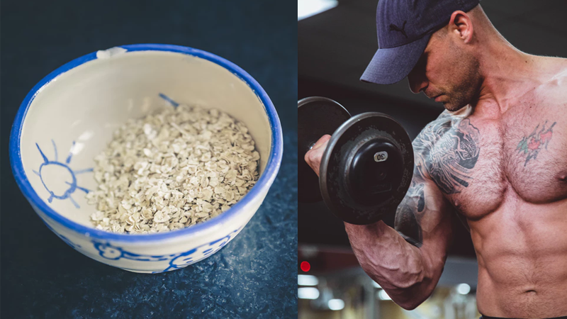 Bowl of oatmeal next to a man building muscle by performing bicep curls