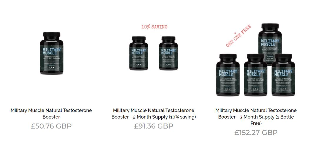 Screen grab showing the Military Muscle pricing system