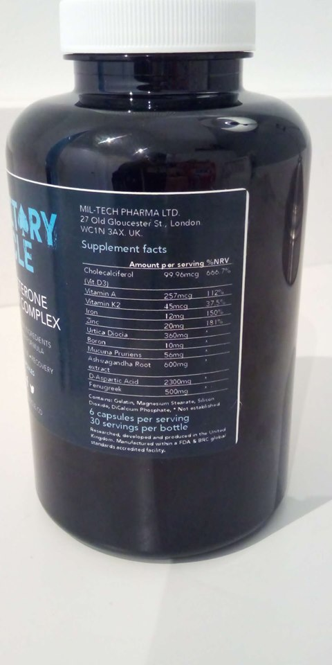 Military Muscle ingredient label